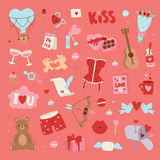 Valentine Day vector pattern. Set of love doodle 14 february Valentine Day icons vector illustration. Save the date decoration typography romantic happy greeting Stock Image