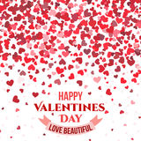 Valentine day vector red background with falling hearts for love couples card Royalty Free Stock Photography