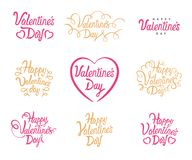 Valentine Day vector text lettering. Vector Happy Valentines Set Of Calligraphic Quotes. Lettering on white background for 14 Febr. Uary Valentine holiday Stock Images