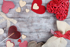 Valentine Day vintage background with hearts Royalty Free Stock Image