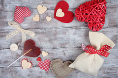 Valentine Day vintage background with hearts Royalty Free Stock Photography