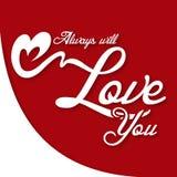 Valentine Day Always vous aimera image de vecteur Photographie stock libre de droits