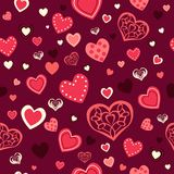 Valentine Day Wallpaper Seamless Pattern-Achtergrond Stock Foto