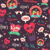 Valentine Day Wallpaper Seamless Pattern-Achtergrond Stock Fotografie