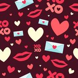 Valentine Day Wallpaper Seamless Pattern bakgrund Fotografering för Bildbyråer