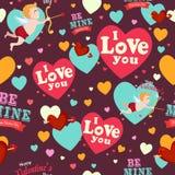 Valentine Day Wallpaper Seamless Pattern bakgrund Royaltyfri Bild