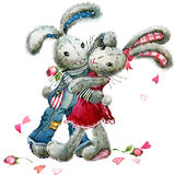 Valentine  Day.Watercolor bunny rabbit and rose flower illustration. Stock Photography