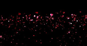 Valentine day, waterfall of red hearts shape on black background, holiday festive valentine day love concept with alpha, channel stock video footage