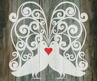 Valentine day wedding background doves heart Stock Photo