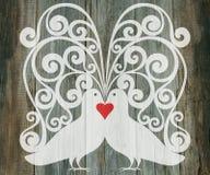 Valentine day wedding background doves heart Stock Photo
