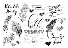 Valentine Day, wedding hand drawn lettering, outline romantic doodles Stock Image