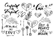 Valentine Day, wedding hand drawn lettering, outline romantic doodles Royalty Free Stock Image