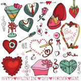Valentine day,wedding hearts,frame,decor element. Valentine's day,wedding,love,romantic,ribbon,hearts,swirl,frame elements collection.Cute Doodle hand drawing stock photography