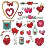 Valentine day,wedding,love.Heart decor element set Stock Image
