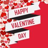 Valentine Day White Ribbon Vector bild Royaltyfri Fotografi