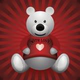 Valentine day white teddy bear on wooden background.  Stock Photo