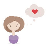 Valentine day wish. Cute girl thinking about love. Valentine wish. Cute girl thinking about love on white background. Thought in cloud with red heart Royalty Free Stock Photography
