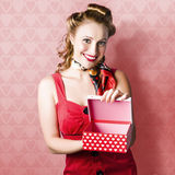 Valentine Day Woman With Red Heart Gift From Lover Royalty Free Stock Photo