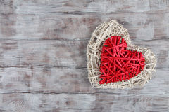 Valentine Day wooden background with hearts Stock Photo