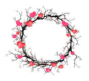 Valentine day wreath - branches and hearts. Watercolor circle border for wedding Stock Photos