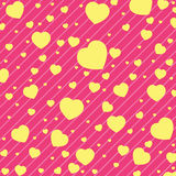 Valentine Day and yellow Heart on Pink background. Vector Valentine Day Background. stock illustration