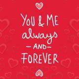 Valentine Day You und ich immer und Vector für immer Bild Stockfotografie