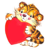 Valentine Dayand cute tiger and red heart. watercolor Stock Photos