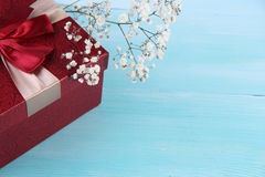 Valentine days Top red gift box and flower wood background. Valentine days  Concept and Decoration Royalty Free Stock Photography