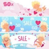 Valentine-de banners van de dagverkoop Rode harten leuke grappige cupido's met vector de markt of het Webetiketten van boog roman stock illustratie