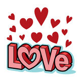 Valentine-de blokletterstitel van de woordliefde met rode harten Stock Afbeeldingen