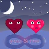 Valentine de coeur de deux amants, carte Image libre de droits