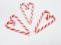 Valentine de coeurs de sucrerie avec le verre de la sucrerie Photo libre de droits