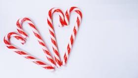 Valentine de coeurs de sucrerie avec le verre de la sucrerie Image libre de droits