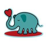 Valentine-de dag leuke olifant die van de valentijnskaart rood hart houden Stock Afbeelding