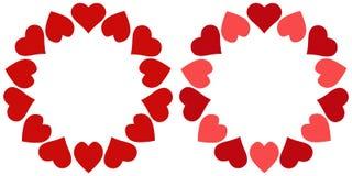 Valentine-de kaderharten omcirkelen, vectorfotokader voor gehouden van, een malplaatje van cirkelharten voor geliefd stock illustratie
