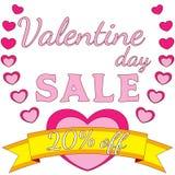 Valentine-de kleurrijke affiche van de dagverkoop, hart, lint, gouden tekst, roze, Stock Fotografie
