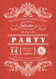 Valentine-de partijuitnodiging van de dagkaart met uitstekend kader op rode raadsachtergrond Stock Foto