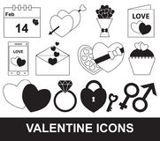 Valentine of de reeks van de Valentijnskaartendag, pak of inzameling stock illustratie