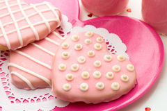 Valentine Decorated Cookies Royalty Free Stock Photography