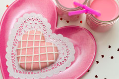 Valentine Decorated Cookies Fotografia de Stock