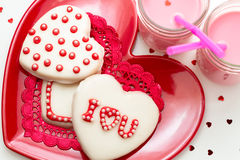 Valentine Decorated Cookies Stock Images