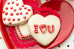 Valentine Decorated Cookies Imagem de Stock Royalty Free