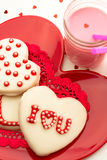 Valentine Decorated Cookies Royalty Free Stock Images
