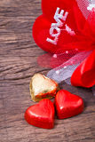 Valentine decoration, heart shaped chocolate, heart and love wor Stock Photos