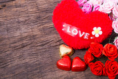Valentine decoration, heart shaped chocolate, roses, heart and l Stock Photos