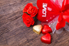 Valentine decoration, heart shaped chocolate, roses, heart  Stock Photography