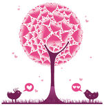 Valentine decorative tree 2. Valentine design elements. To see similar illustrations, please visit my gallery Royalty Free Stock Photos