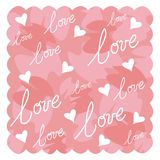 Valentine Design. Pink valentine design with white hearts and handwritten word love. Vector file uploaded also Royalty Free Illustration