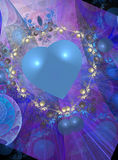 Valentine design in blues. Abstract graphic valentine design in shades of purple and blue Stock Image