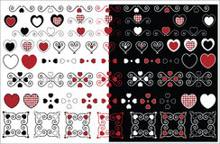 Valentine Designs With Gingham Trim. Red, black and white valentine designs with gingham trim in a variety of color combinations Royalty Free Stock Photos